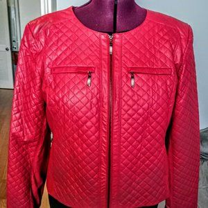 Ellen Tracy Faux Leather Quilted Zip Front Jacket